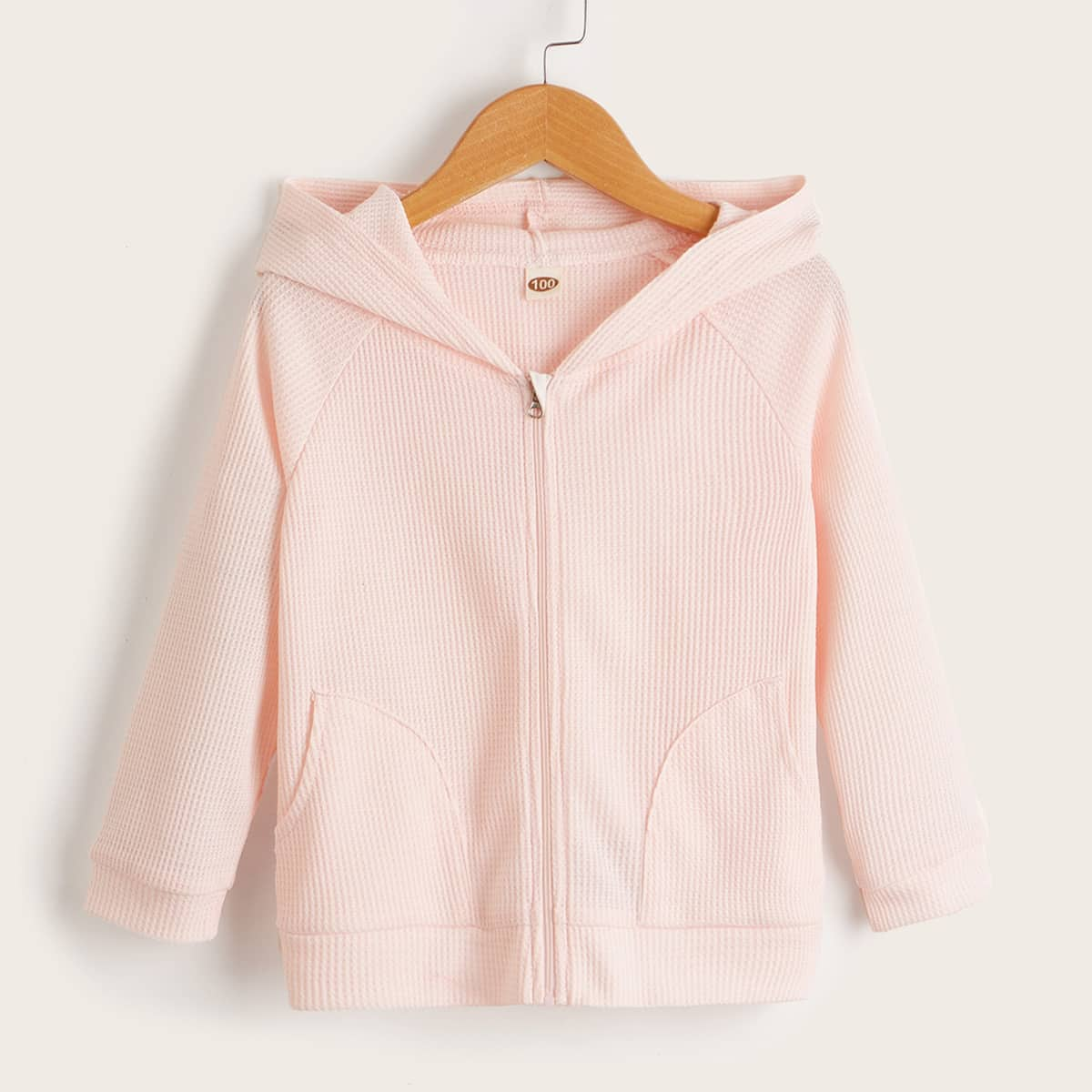 Toddler Girls Waffle Knit Raglan Sleeve Hooded Jacket, SHEIN  - buy with discount