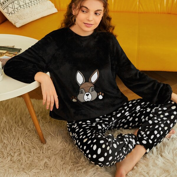 Rabbit Embroidery Tee & Dalmatian Print Pants Flannel PJ Set, Black