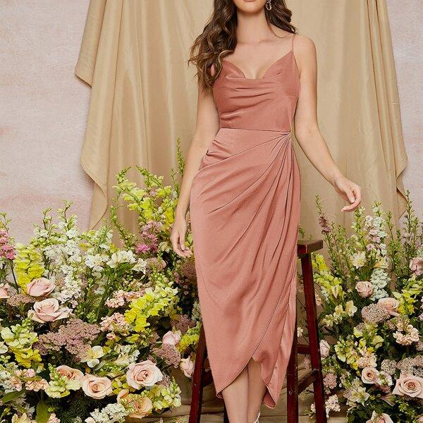 Ruched Asymmetrical Hem Solid Dress, Dusty pink