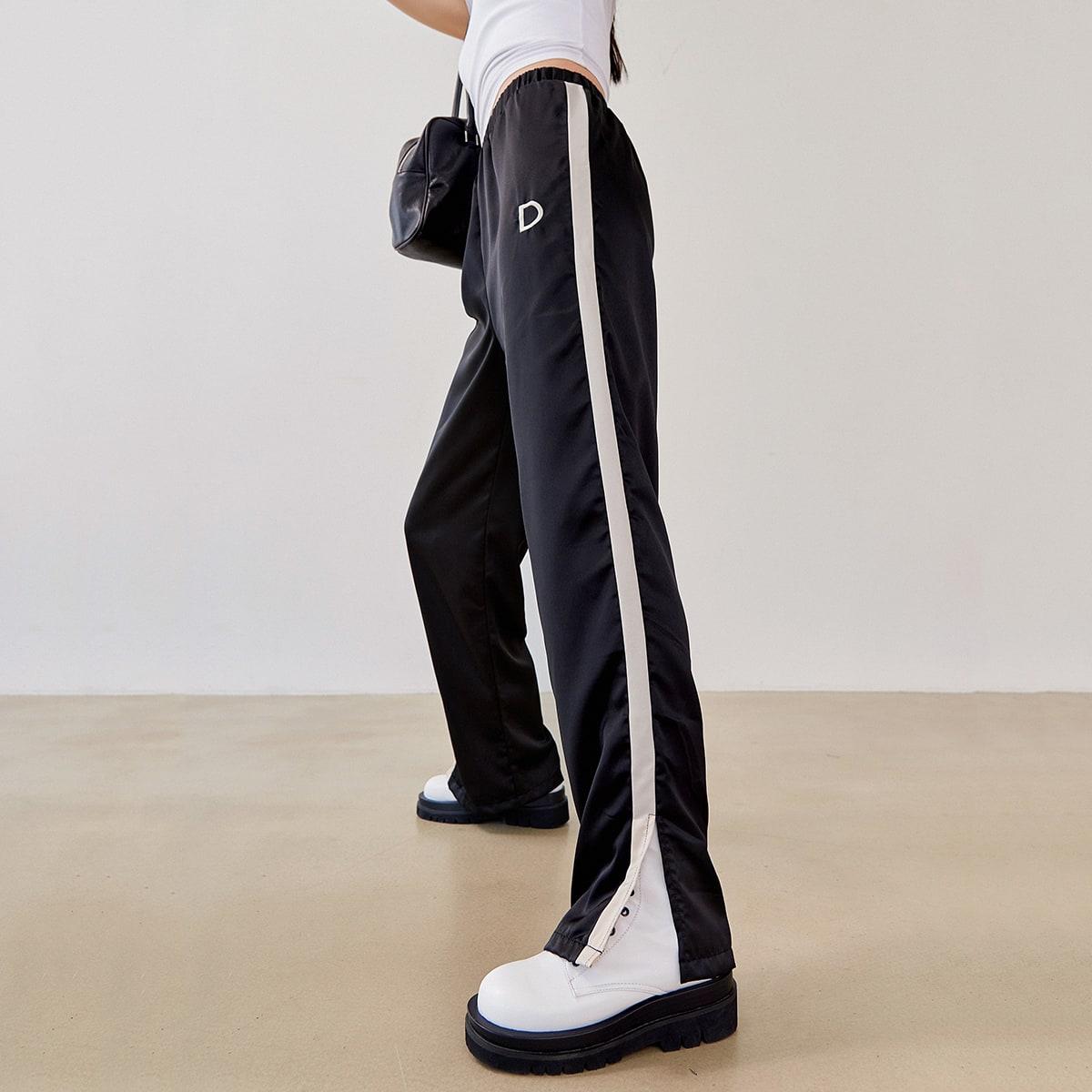 Contrast Sideseam Split Hem Mopping Pants