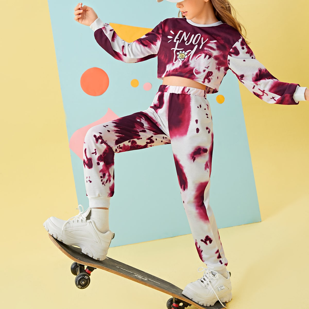 Girls Tie Dye Letter Graphic Crop Pullover & Sweatpants, SHEIN  - buy with discount