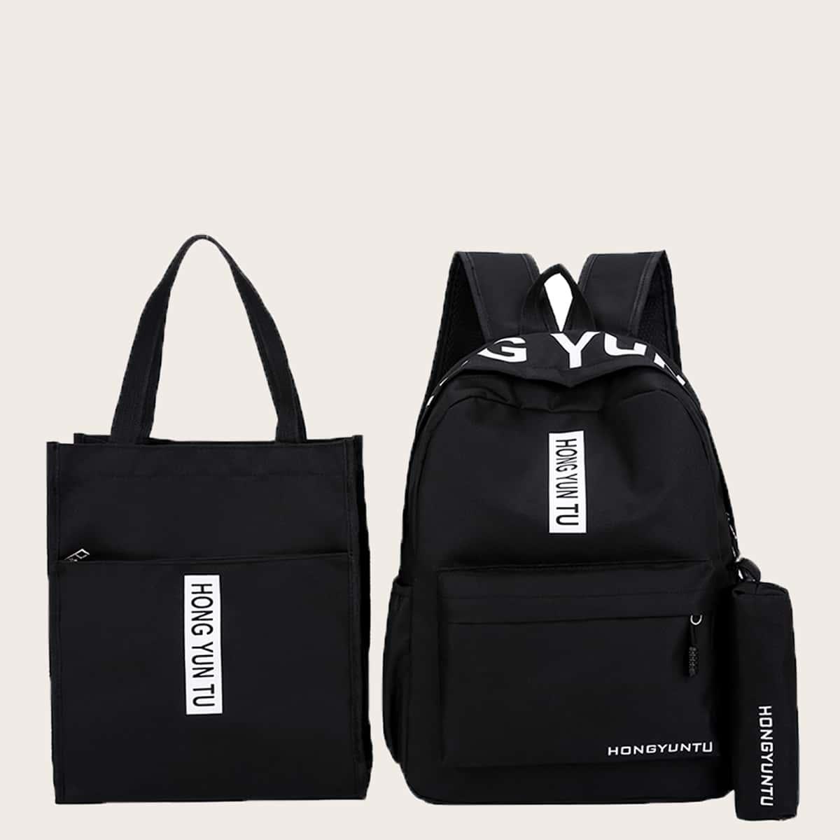 3шт Набор сумок с текстовым принтом SHEIN. Цвет: чёрный