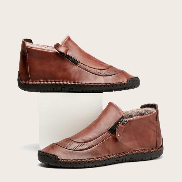 Men Zip Detail Textured Loafers, Brown