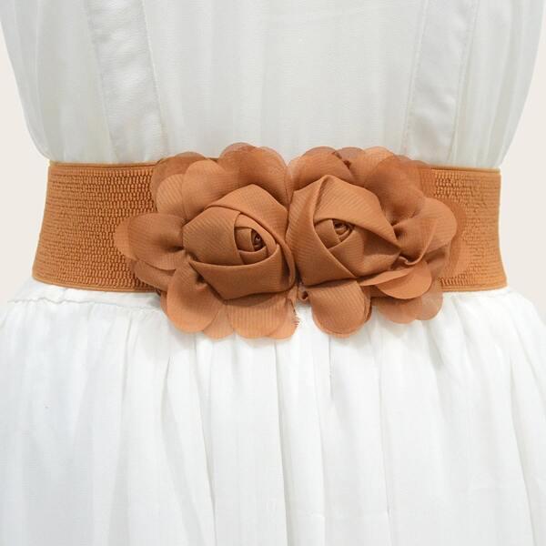 Flower Decor Corset Belt, Brown