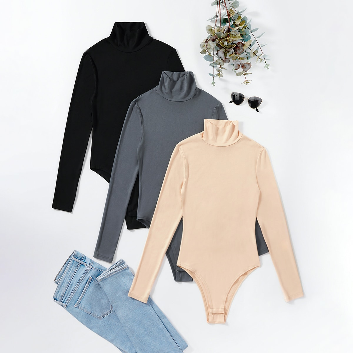 High Neck Solid Bodysuit, SHEIN  - buy with discount