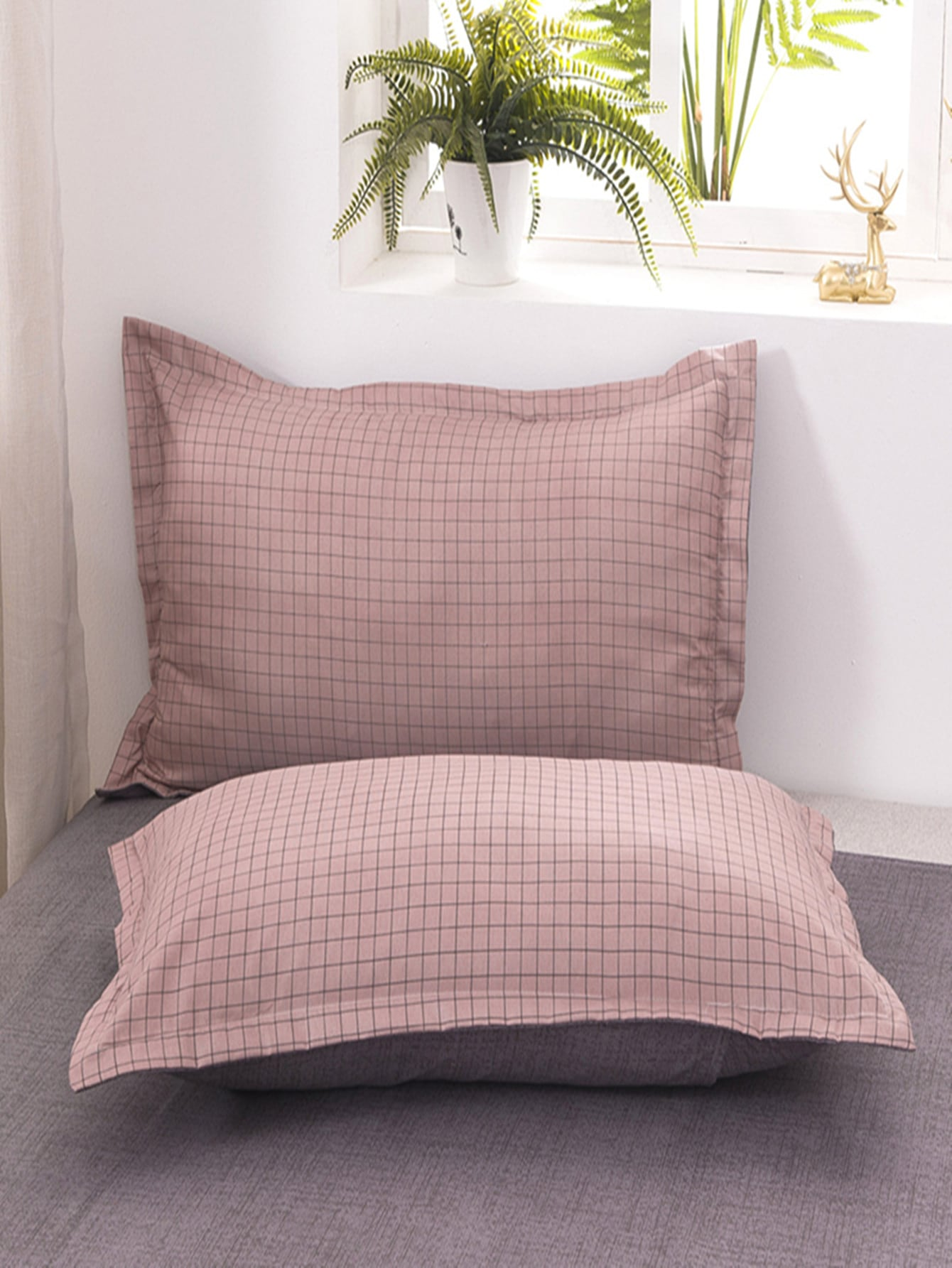 1Pair Plaid Pillowcase Without Filler