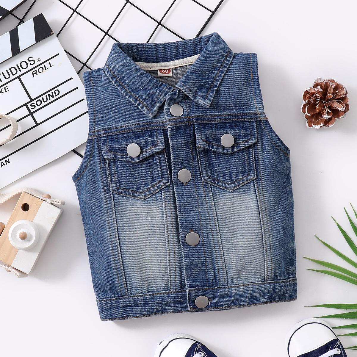 детский Жилет-куртка с карманом джинсовый от SHEIN