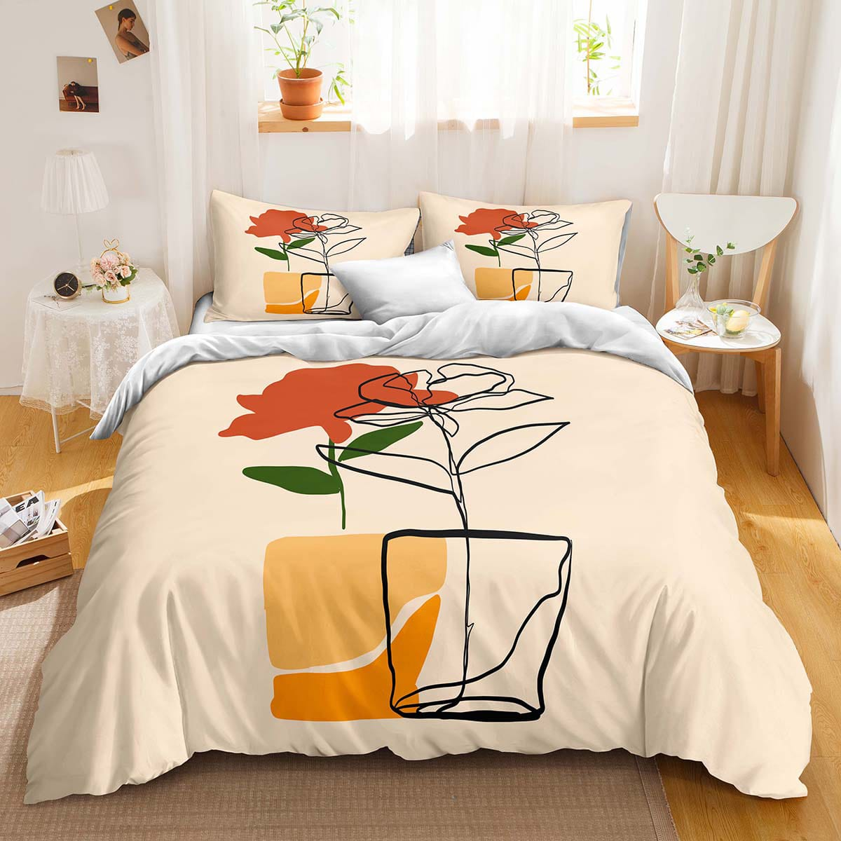 Abstract Flower Print Duvet Cover Set Without Filler