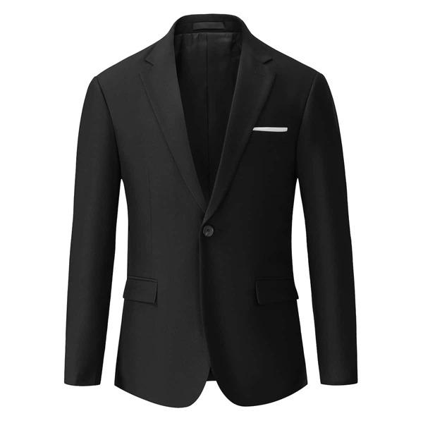 Men Contrast Panel Single Button Blazer, Black