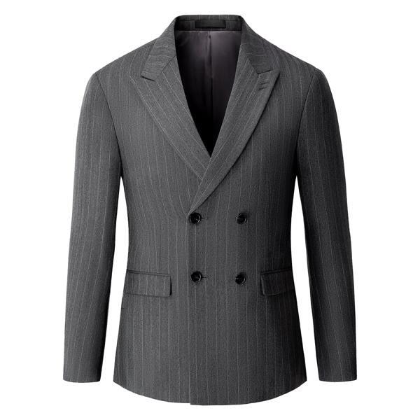 Men Pinstripe Double Breasted Blazer, Dark grey