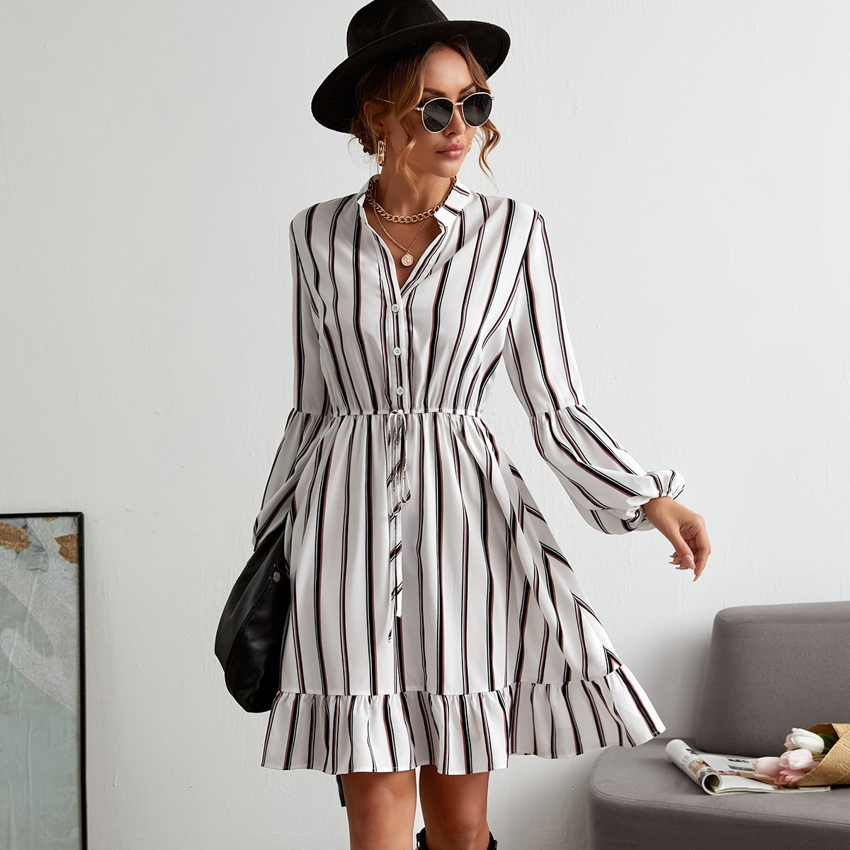 Striped Ruffle Hem Dress