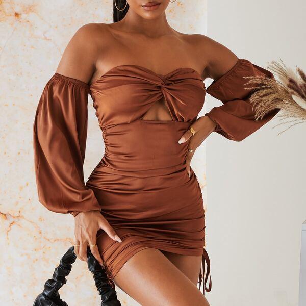 Off Shoulder Twist Bust Peekaboo Drawstring Ruched Bodycon Dress, Coffee brown