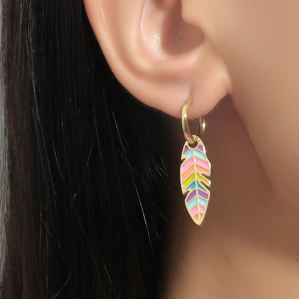 18K Gold Plated Feather Drop Earrings, SHEIN  - buy with discount