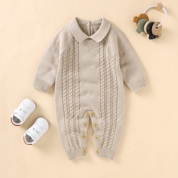 Baby Unisex Raglan Sleeve Cable Knit Jumpsuit, Camel