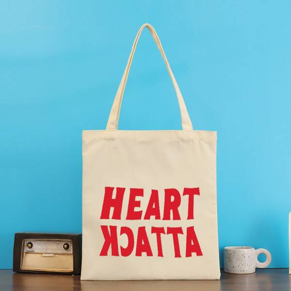 Letter Graphic Shopper Bag, Beige