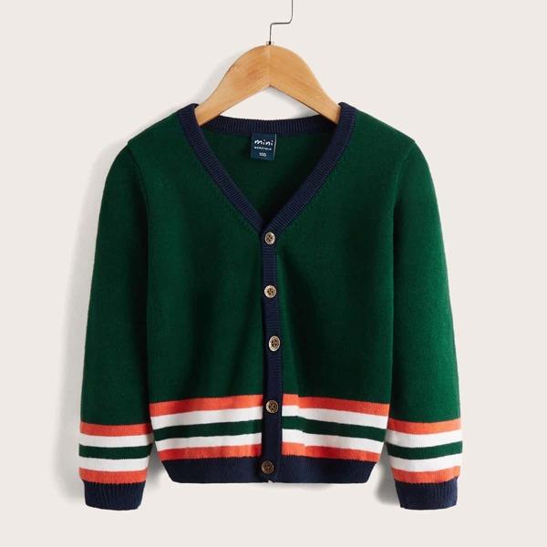 Toddler Boys Stripe Pattern Contrast Trim Cardigan, Dark green