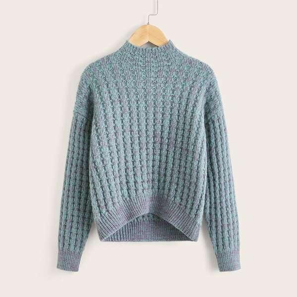 Girls Drop Shoulder Marled Knit Sweater, Dusty blue