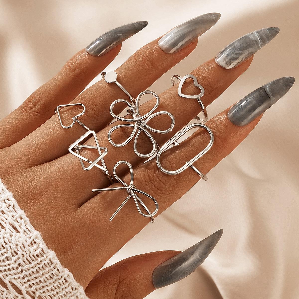 7pcs Heart & Bow Decor Ring