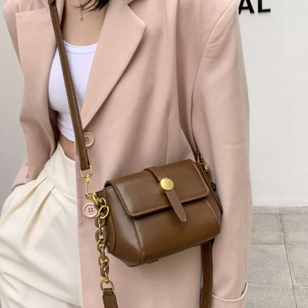 Solid Flap Chain Shoulder Bag, Coffee brown