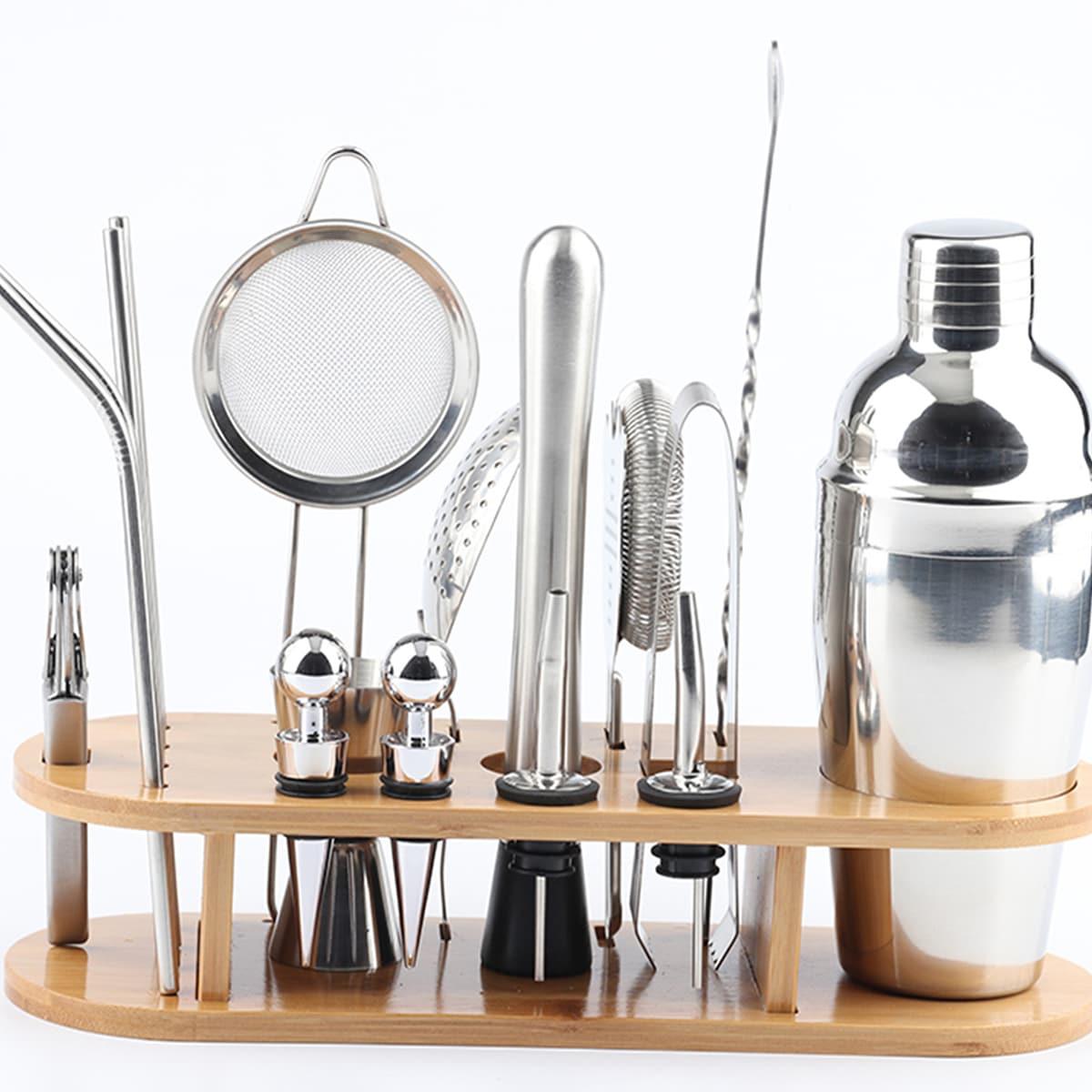 1 набор Инструмент для приготовления коктейлей SHEIN. Цвет: серебряные