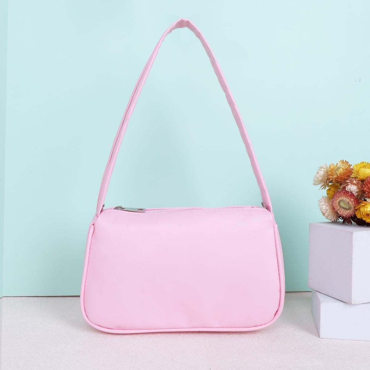 Для девочек Сумка на плечо минималистичный SHEIN. Цвет: розовые