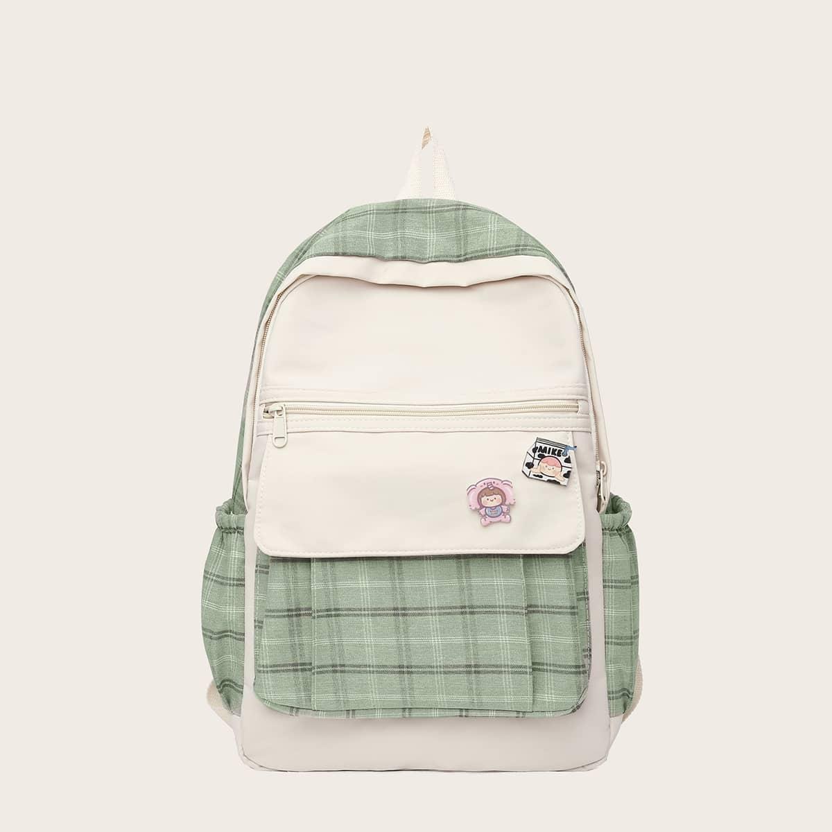 Детский рюкзак с мультипликационным декором в клетку SheIn sk2107306481817855