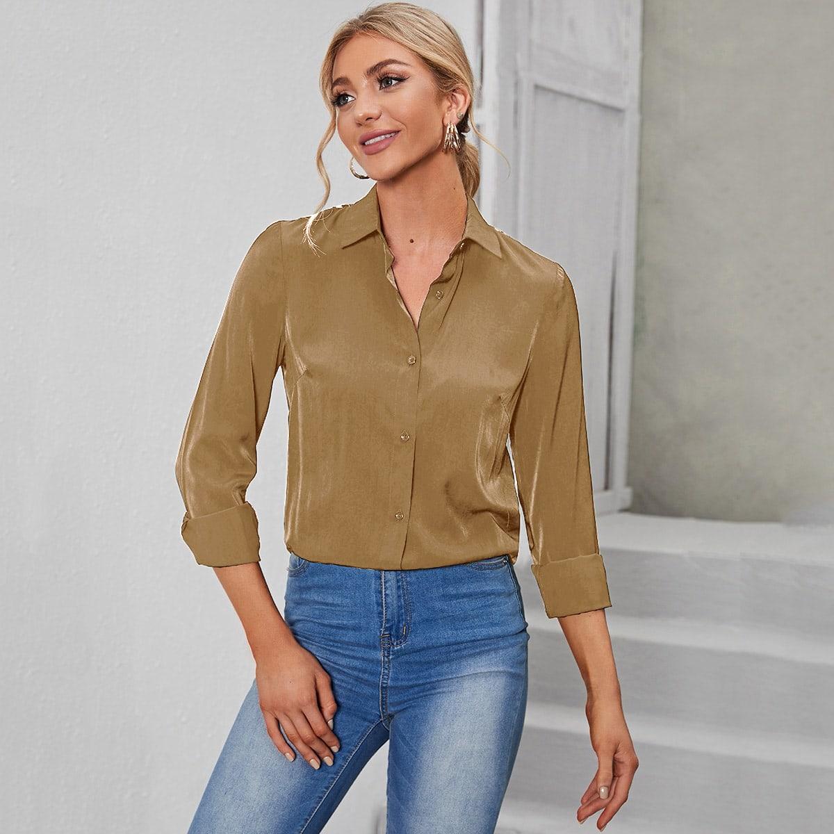 Блуза с разрезом и кружевом SheIn swblouse23210615363