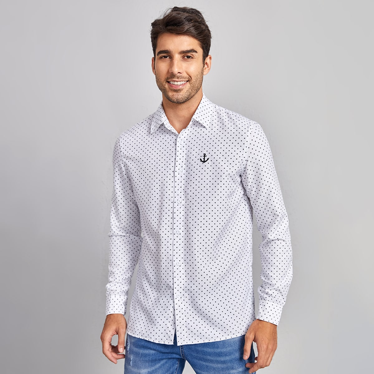 Мужской Рубашка с принтом якоря вышивкой