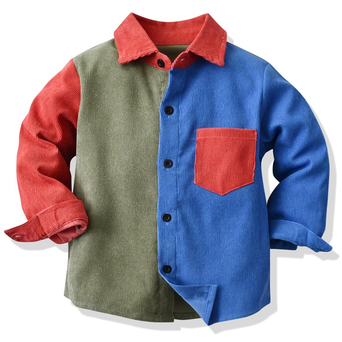 для мальчиков Рубашка Контрастный вельветовый