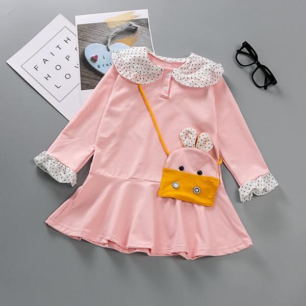 Girls Polka Dot Panel Flounce Sleeve Ruffle Hem Dress With Bag, Pink