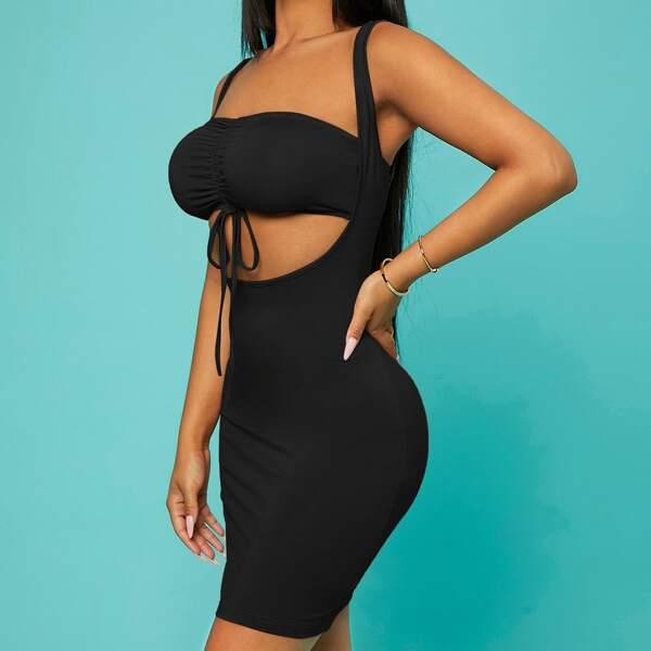 Peekaboo Drawstring Ruched Front Bodycon Dress, Black