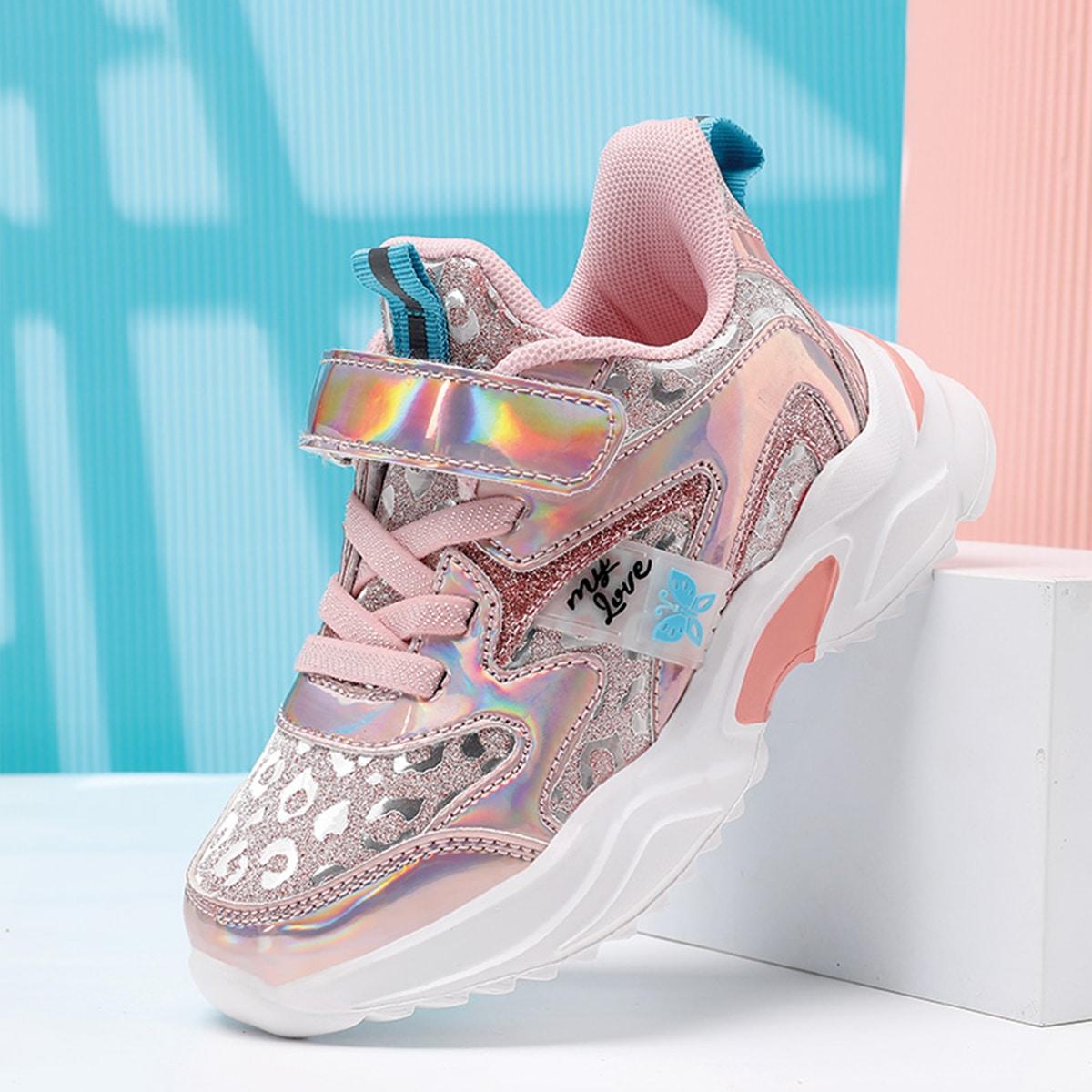 Голографические кроссовки для девочек на липучке от SHEIN