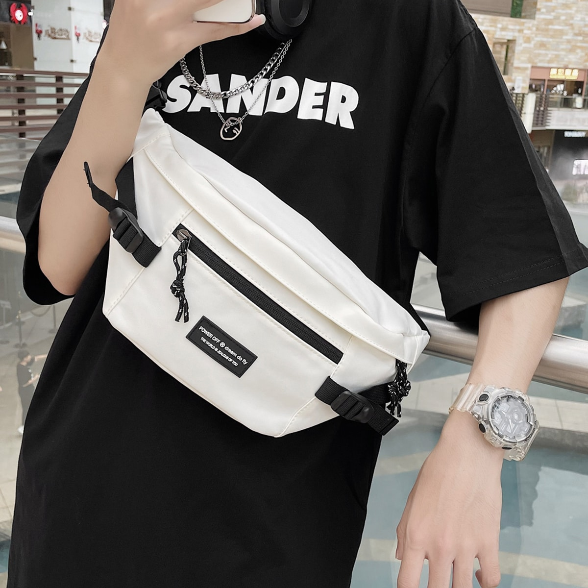 Мужской Поясная сумка с пряжкой SHEIN. Цвет: белый