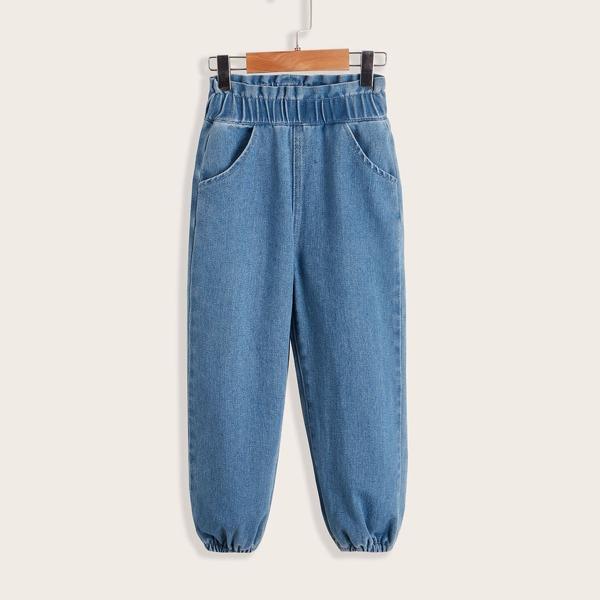 Toddler Girls Paperbag Waist Jogger Jeans, Medium wash