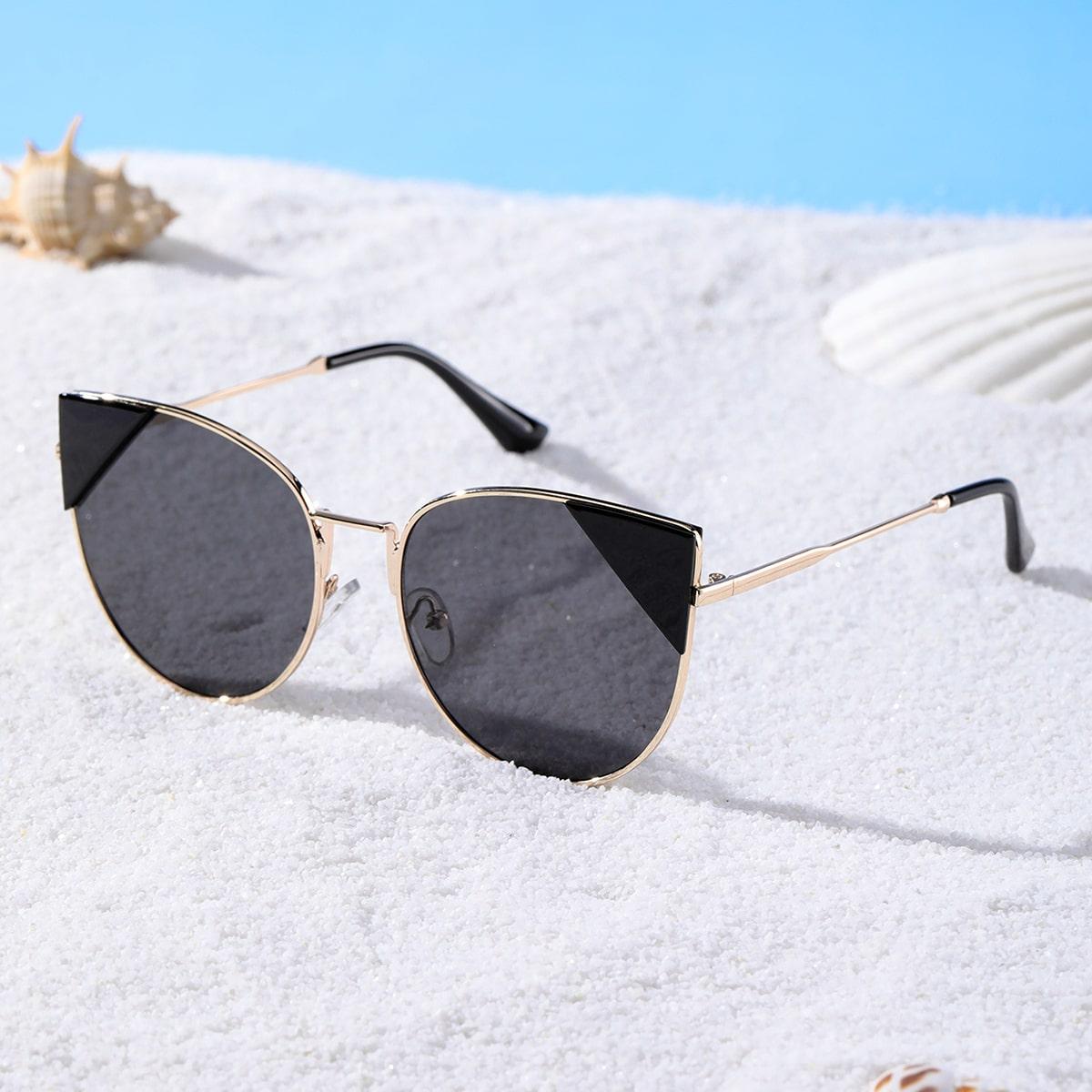 """Солнцезащитные очки """"кошачий глаз"""" в металлической оправе"""