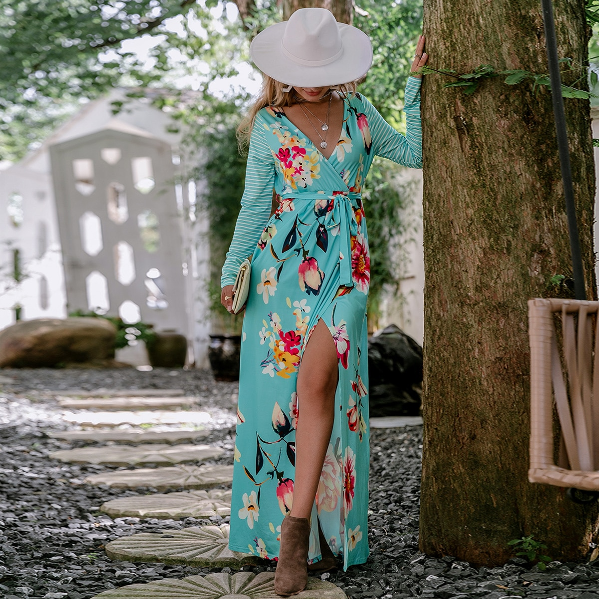 Floral Print Contrast Sleeve Belted Dress