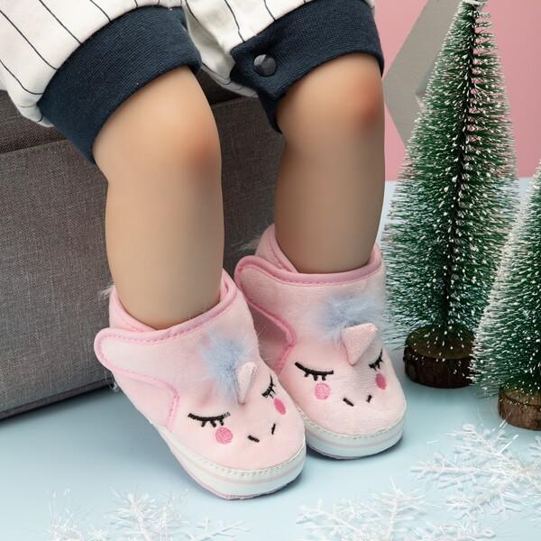Baby Fluffy Cartoon Unicorn Design Flats, Pink