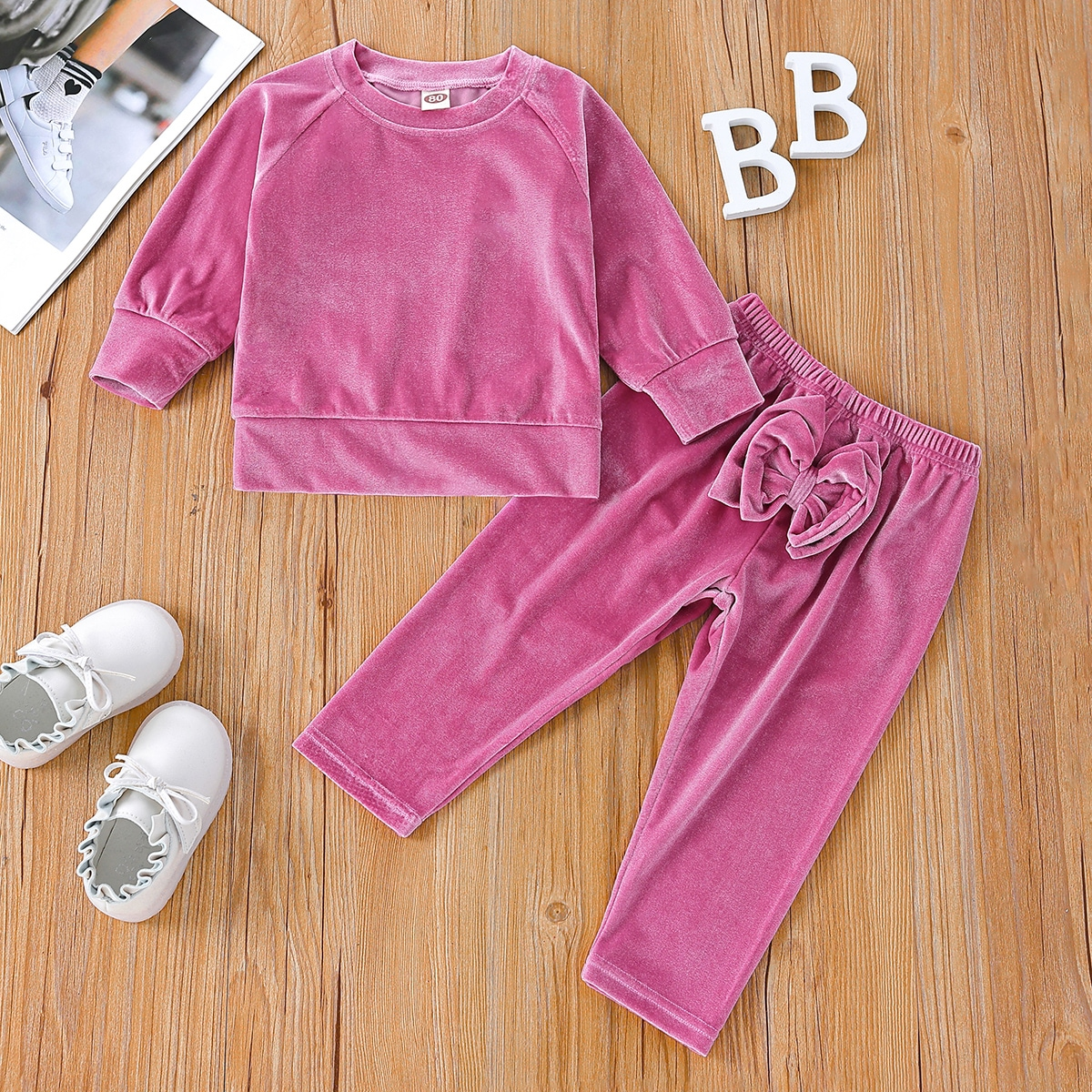Baby Velvet Pullover & Bow Front Pants, SHEIN  - buy with discount
