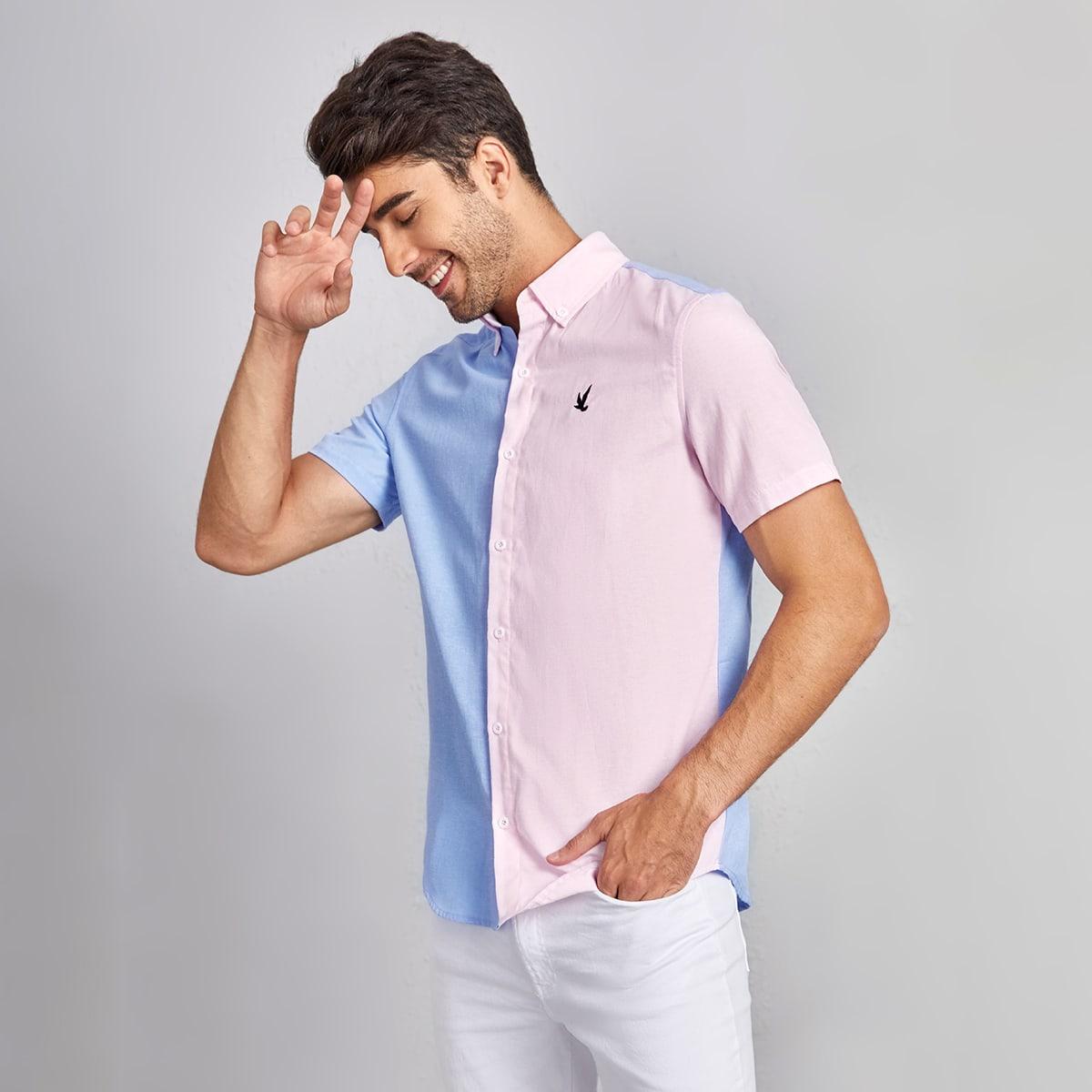 с вышивкой Пуговица Животный Контрастный цвет Институтский Мужские рубашки