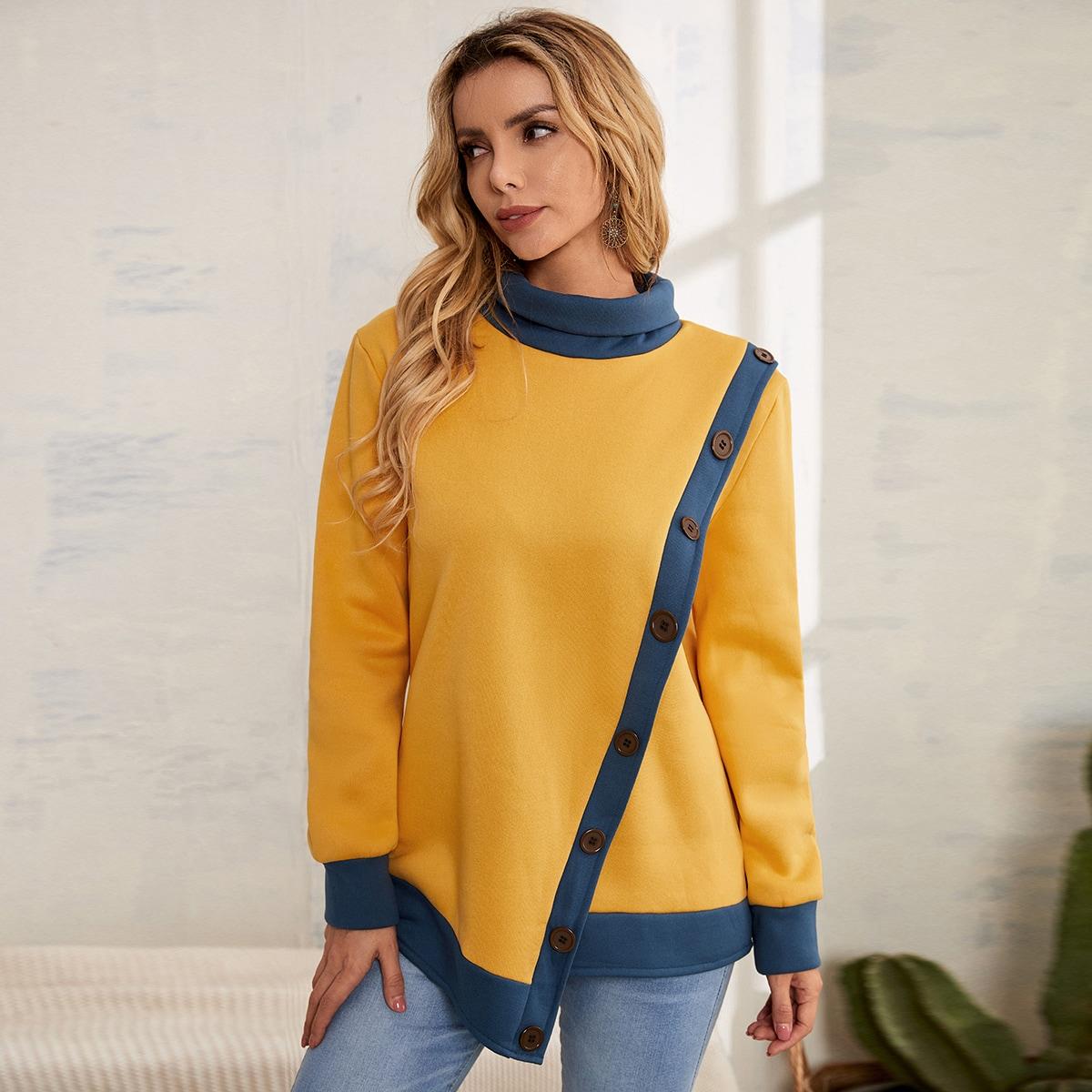 Mock Neck Button Front Binding Sweatshirt, SHEIN  - buy with discount