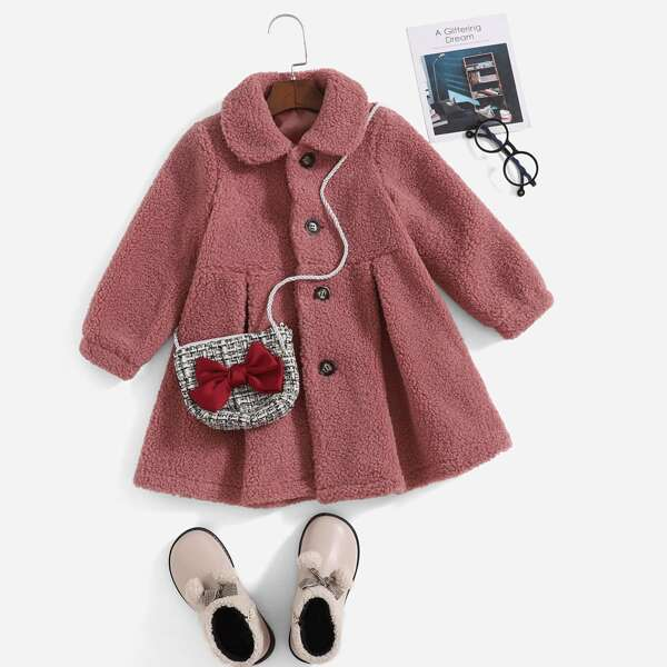 Toddler Girls Peter Pan Collar Fold Pleated Teddy Coat Without Bag, Dusty pink