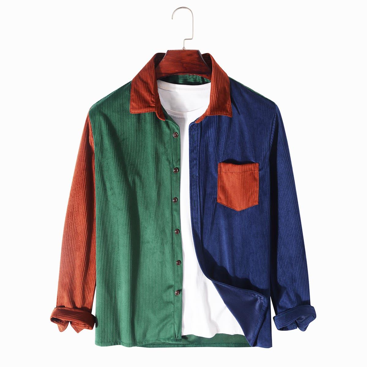 Мужская контрастная вельветовая рубашка SheIn sM210618278043791
