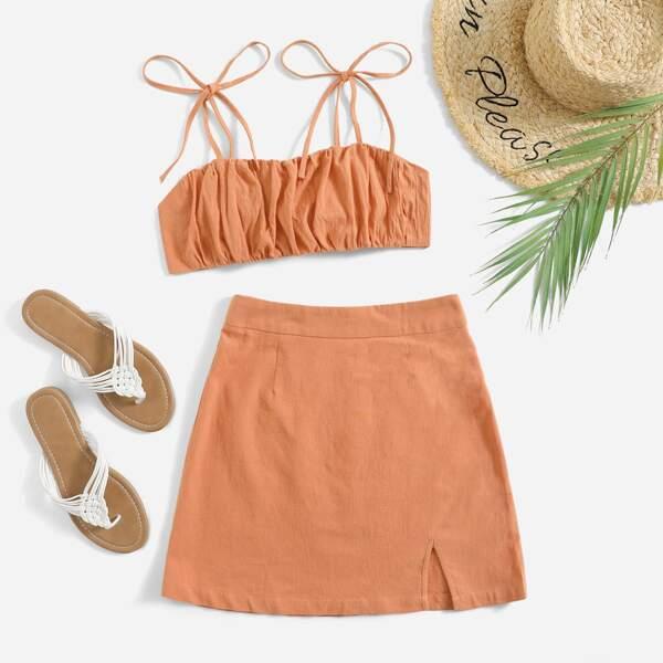 Knot Shoulder Tie Back Ruched Bust Crop Cami Top & Split Hem Skirt Set, Coral orange