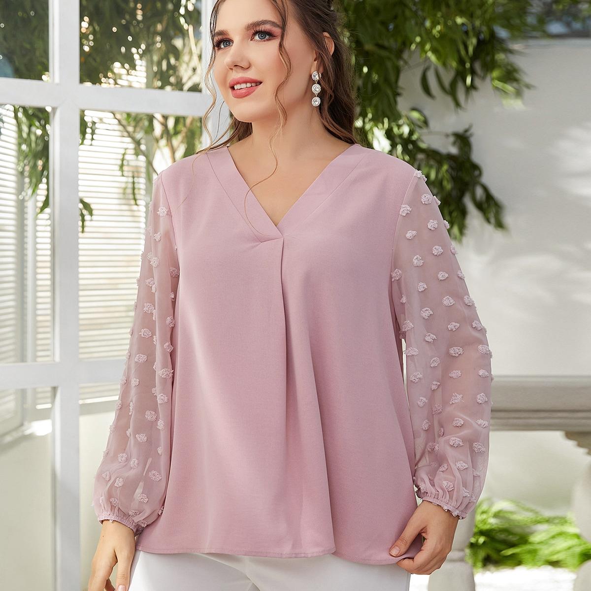 размера плюс Блуза в горошек с рукавом