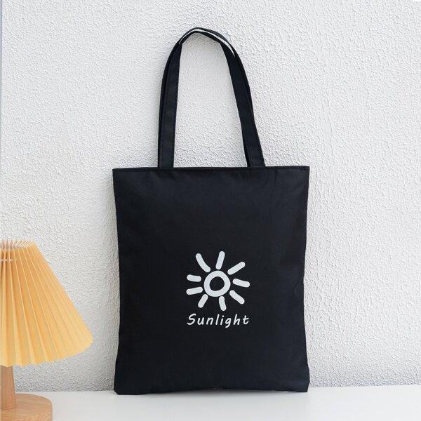 Sun & Letter Graphic Shopper Bag, Black