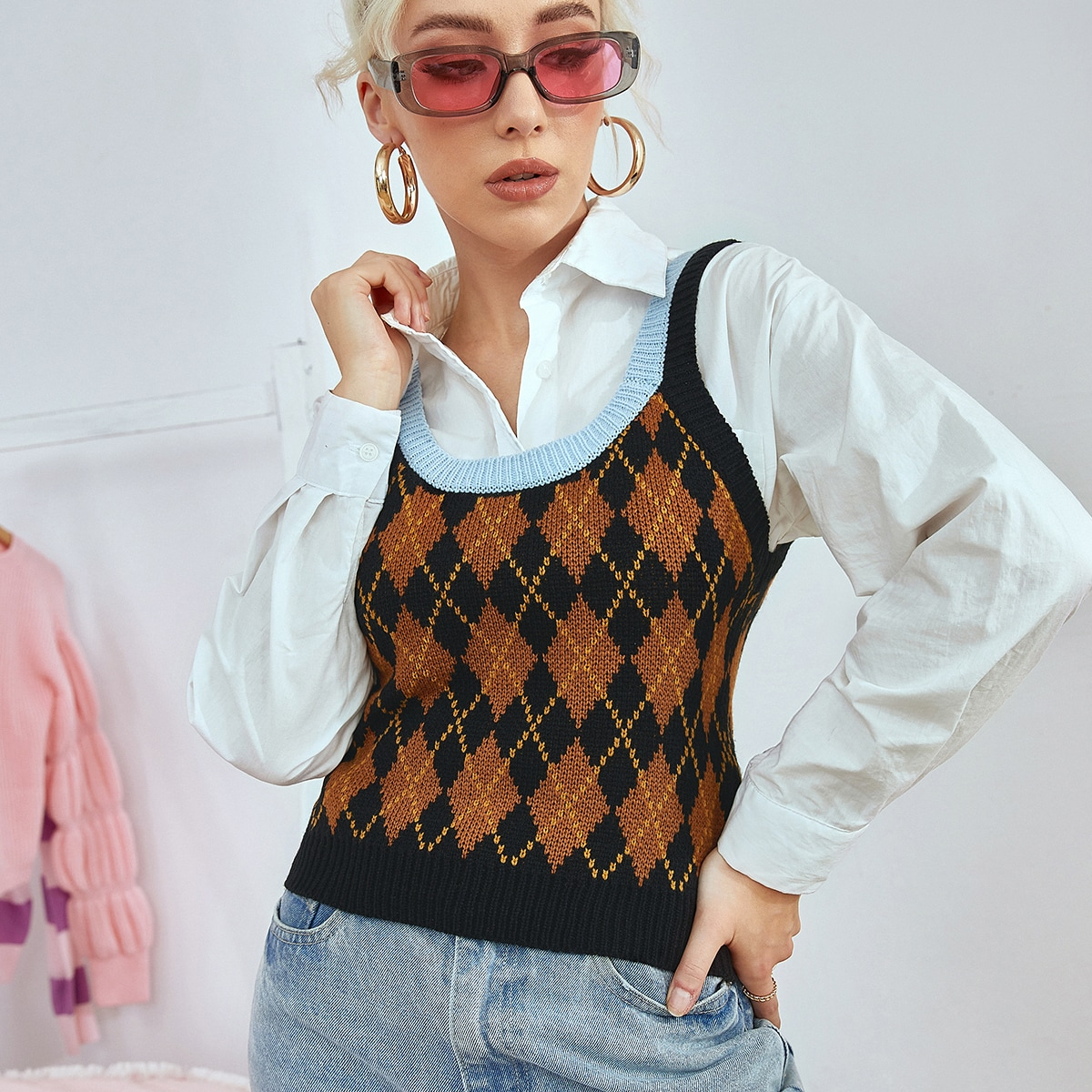Argyle Pattern Knit Top Without Blouse, SHEIN  - buy with discount