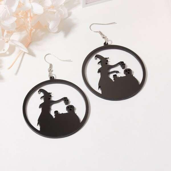 Серьги-подвески в форме ведьмы на хэллоуин, Чёрный