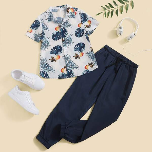 Boys Fruit & Tropical Print Shirt & Drawstring Waist Pants, Multicolor