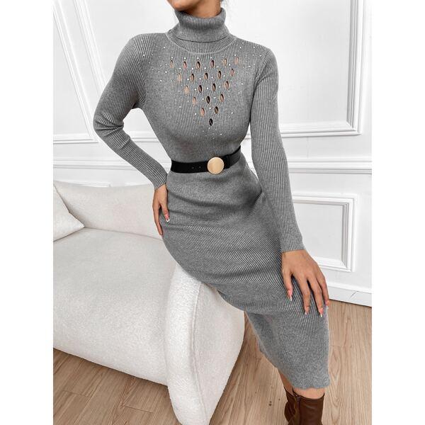 Pointelle Knit Turtleneck Sweater Dress Without Belt, Grey