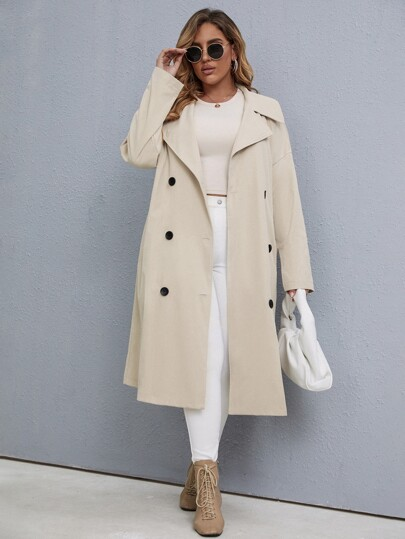 Plus Double Breasted Drop Shoulder Belted Trench Coat